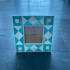 Anthropologie Teal Bone Inlay Picture Frame